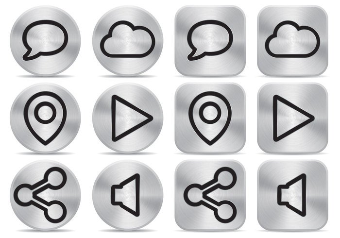 white web vector symbol steel solid small sign shine shadow reflection push metal light isolated internet interface illustration icon glossy element download down direction design cursor computer circle Chrome button brushed aluminum black background art arrow app Aluminium