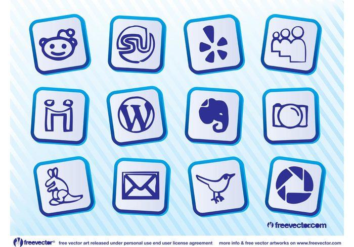 yelp wordpress web twitter StumbleUpon social site reddit Picassa Photobucket Myspace icons icon Gowalla evernote email