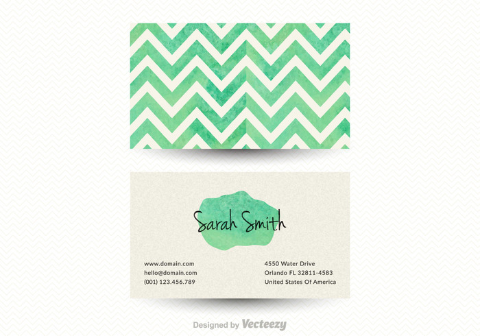 Free chevron business card vector template 109966 welovesolo wedding watercolor vintage vector unusual template teal stroke stationery seamless retro pattern paper mock up free creative vector business card reheart Images