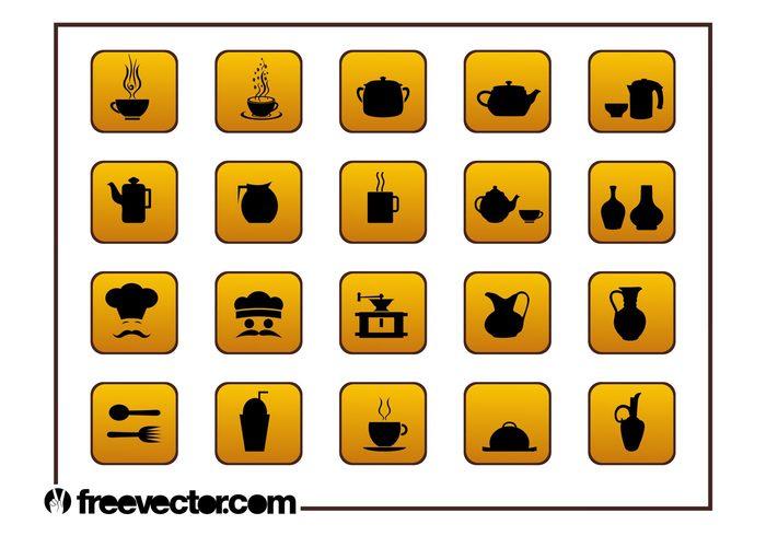 Teat teapot spoon milkshake Meals icons glasses fork food eat Dishware cutlery cup cook coffee buttons bottles badges