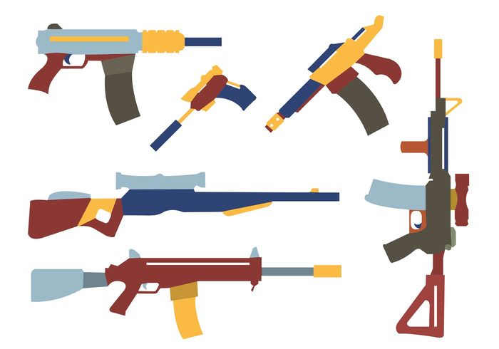 weapon Violence Trigger submachine silhouette shot security rifle revolver protection pistol military metal magazine machine Kill isolated weapons isolated handgun gun shapes gun danger crime colorful weapons black Battle automatic army Ammunition Ak47