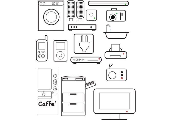 tv speakers radio iPod etc DVD coffie machine cell