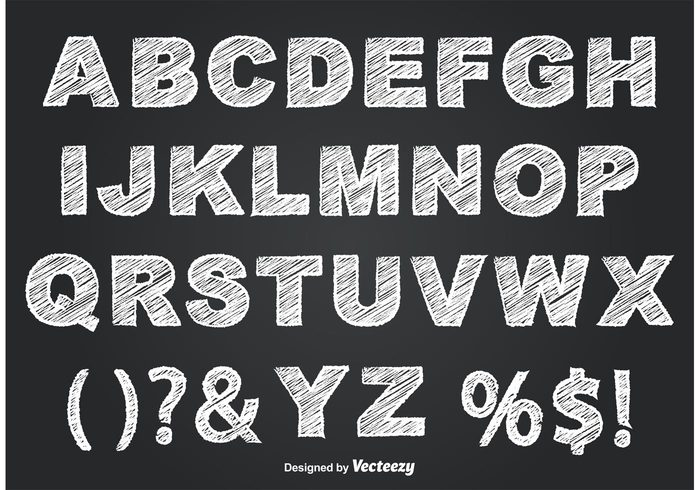 Chalkboard style alphabet welovesolo for Blackboard with white removable letters