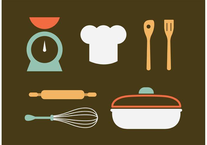 wooden spoon vintage kitchen utensils vintage utensil symbol style scales retro pot old mincing machine kitchenware kitchen food element design cooking collection Chef's hat