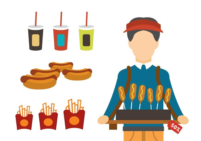 vendor Unhealthy sweet stadium vendor soda sausage restaurant meat meal junk isolated Hot dog fries with sauce fries french fries food fat fast food products fast food fast eating drink dinner dessert delicious corn dog cola chip burger bun bread beverage beer