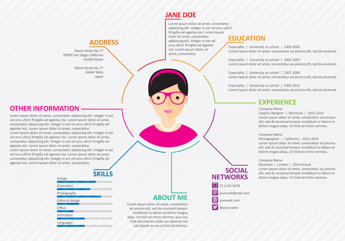 work white vitae vector user type timeline text template skill simple resume profile print photo personal paragraph paper page network modern minimalist line layout Job Interview infographic illustration icon hiring header Experience Employment Employer elegant document design description dashboard CV curriculum vitae curriculum creative corporate company color clean business blue background application