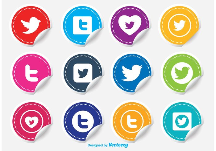 yellow wing twitter icon template talking symbol sticker set sticker icons sticker stamp social sign shape set seal rounded red post online network message media mark label internet icons icon set icon green graphic geometric flat curled sticker creative concept communication colored chat button blue black bird beak badge background app