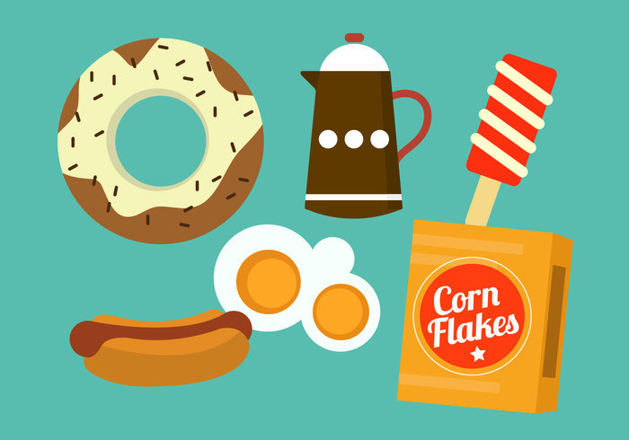 tea sandwich morning isolated icon ice cream ice Hot dog hot food flat design flat Flakes egg drink donut cream corn flakes corn cereal breakfast box