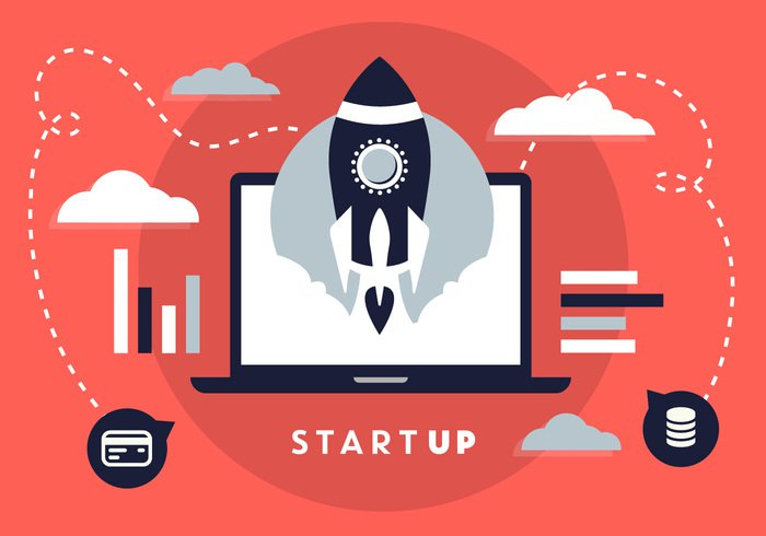 white vector up trendy technology symbol startup start speed space ship science rocketship rocket project product poster new modern light launch isolated innovation illustration icon galaxy flight flat development design concept color bright blue banner background backdrop