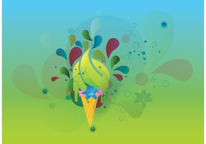 Vector freebies swirls sunny summer spring poster landscape illustrator ice cream flyer Design footage cool bright background abstract