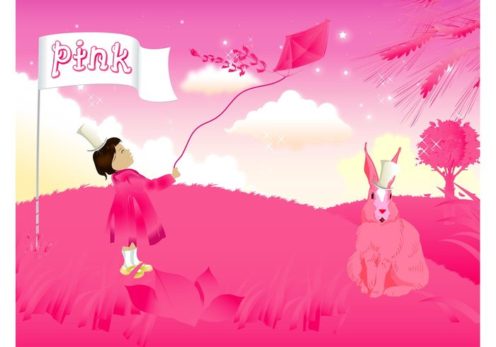 tree top hat sky rabbit pink meadow kite kid happy grass girl fun field fantasy clouds child bunny background abstract