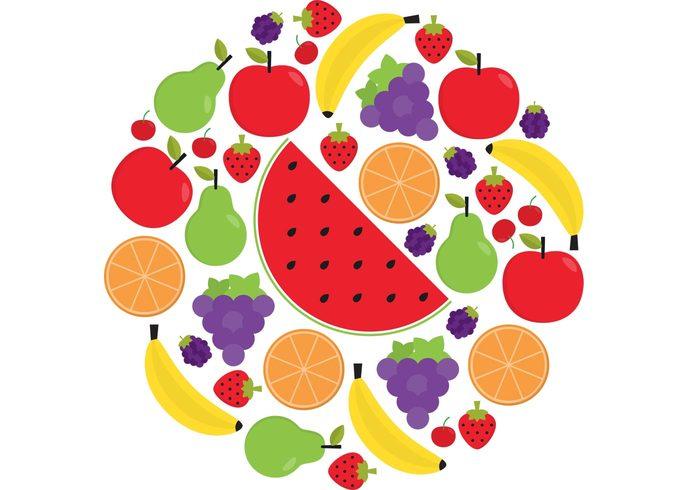 watermelon strawberry pear orange Healthy health grapes food eat cherry bright Blackberry banana apples apple