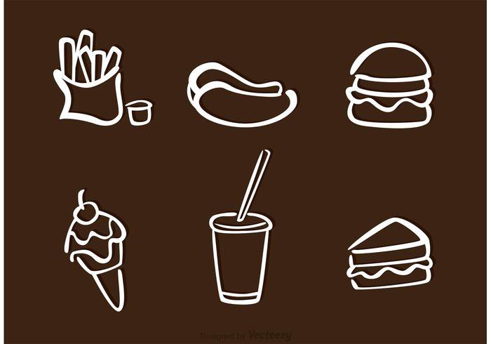 soda snack sausage sauce sandwich restaurant potato outline menu meat meal ice cream hotdog fries with sauce Fried food fastfood fast food fast drinks coke burger bun bucket beef