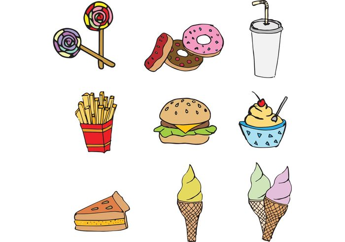 sweet pizza meal lunch junk food icecream hamburger french fries food fast food eat drink doughnut donut cute cone candy cake burger american fast food