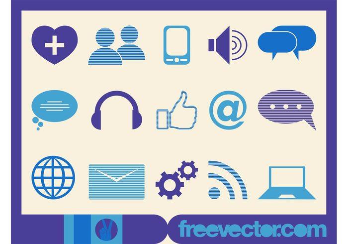web technology tech speaker RSS online music logos like internet icons heart headphones gears Gear wheels favorite devices