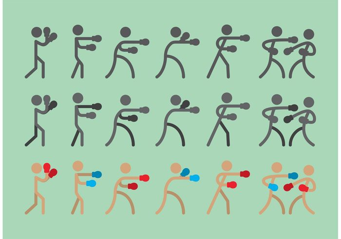 training stick figure icon sport silhouette people old time boxing man gym glove fighter Fight exercise competition champion boxing boxer active