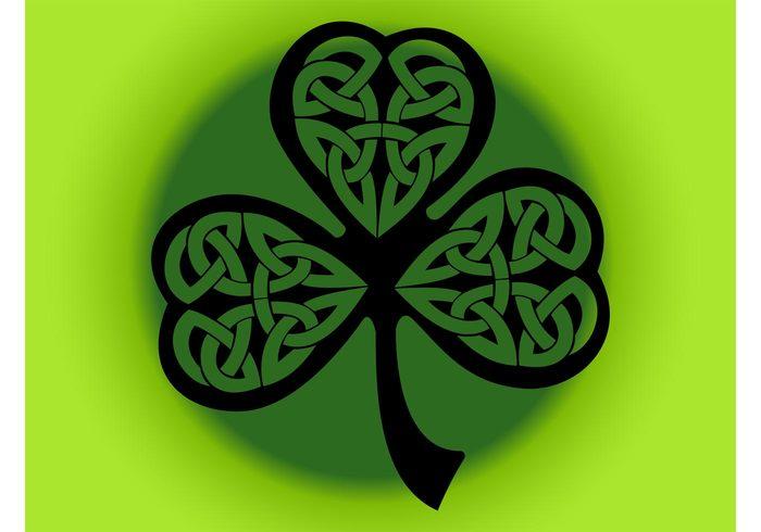 symbol stem shamrock plant nature luck lines leaves leaf Irish Ireland icon gambling gamble decorations abstract