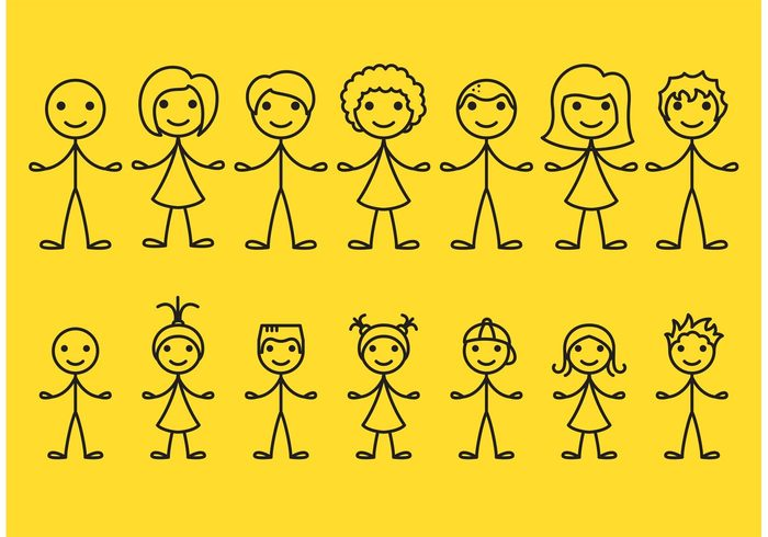 Teen stick figure people stick figure icons stick figure icon Stick figure sketch pose people kids isolated Human happy graphic doodle cute children