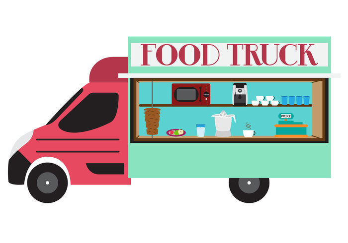 vehicle van truck street snack service register plate Oven microwave meat meal maker lunch kebab juice glass fruit Fried foodtruck food fast Extractor delivery cup coffee cash car business