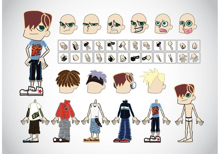outfit head hand hair fingers comics clothing character cartoon Boy vector Boy illustration boy animation