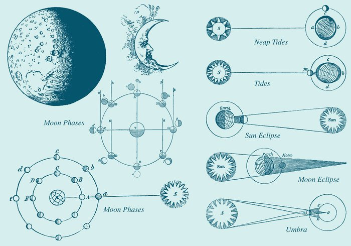 wind weather vintage vector symbol sun style sketch sign set retro outline old Moon phases moon phase moon line isolated image illustration hand graphic face element drawn drawing design crescent contour cloud background art antique abstract