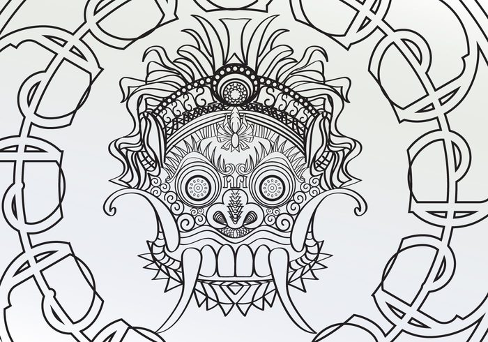white stars star Spirits organic mythology masks mask lion-like lines line kingds king indonesia espiral curves curve creatures creature coloring pages coloring circles circle black barong background Adults adult coloring pages Adult