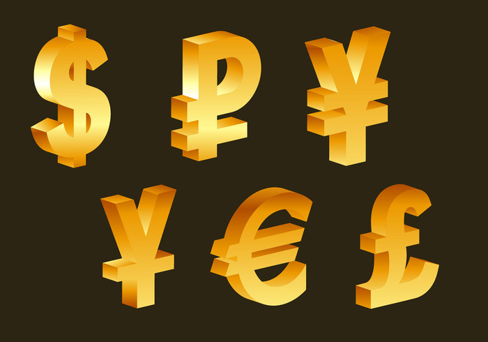 3d golden currency symbols - WeLoveSoLo