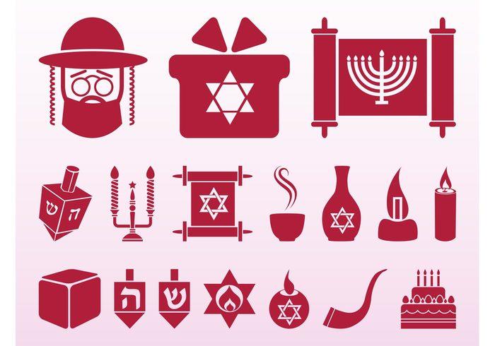 Torah Star of david Spinning tops scrolls religious religion judaism Jews jewish icons holiday Hanukkah Dreidels celebration