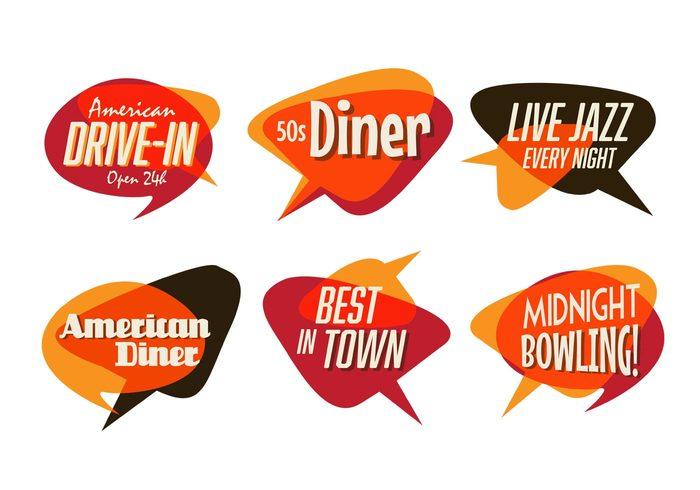 Vintage Restaurant Typographic Signs Signboard Shop Retro Restaurants Midnight Bowling Logo Live Jazz Label