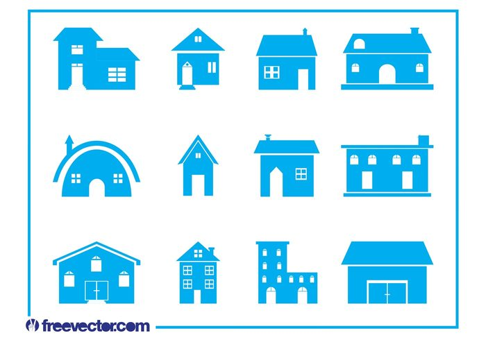 Windows stylized roofs real estate icons houses house home doors chimneys buildings architecture
