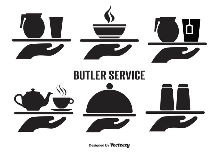 work wine waiter icons waiter Wait utensils Treat tray silhouette service server serve restaurant professional Platter plate occupation menu lunch isolated hunger Hold hand gourmet food service food drink dinner dining cups cook coffee chef Catering Carry butler service butler icons butler buffet breakfast bottles black