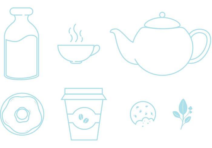 Vector Icon teapot tea party tea leaf Tea kettle tea icons tea cup tea milk line icons high tea food icons food icon food drinks donut bottle Biscuit beverages