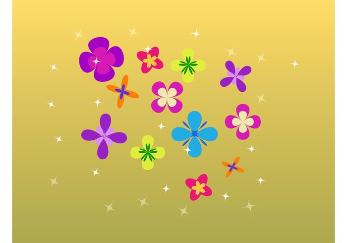 sweet stylized sixties Simplified shines seventies plant pattern nature vector minimal flower power flower floral cute colors bright