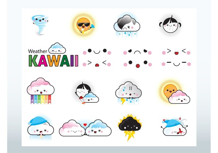 weather Twister tornado thunder sunny rain lightning hurricane expressions cute cloudy clouds characters Cartoons animated