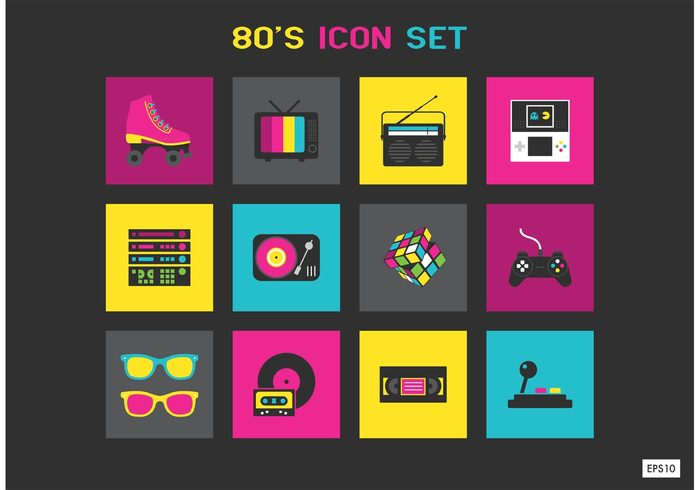 youth young watch vivid video vibrant tv television teenager sunglasses style stereo sport skateboard shoes set rubiks cube revival retro nostalgia memories lifestyle icon game funky extreme cycling culture cube console colors color casette basketball audio Adult 80's icons 1980s