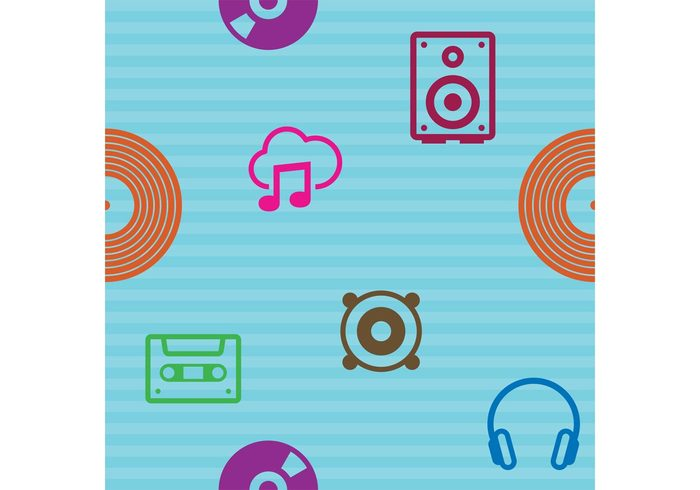 technology symbols stereo speaker sound record play musical pattern musical note musical music pattern music note music icon music mixer microphone mic media loudspeaker Listening headphone DJ disc jockey disc computer cassette tape