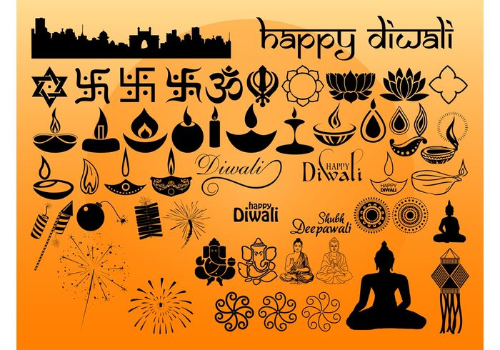 silhouettes pack india icons holiday Hinduism Hindu greetings flames Fireworks fire festive Festival of lights elements candles Buddhism Buddha
