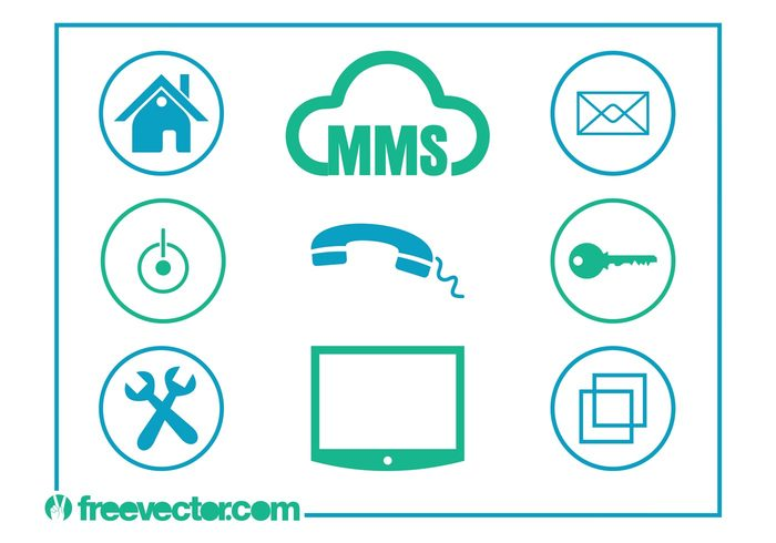 tv technology tech symbols settings security round power button phone mail m&ms lock key icons home files email circles