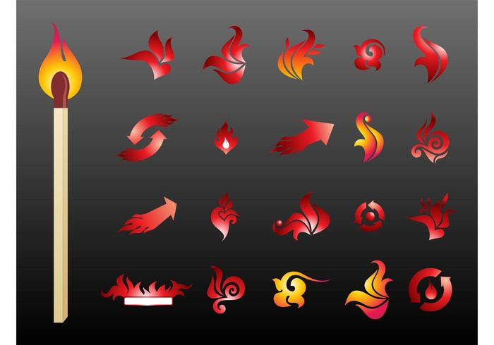 stickers stick matches icons hot heat flames Fire vectors fire icons buttons burning burn banner arrows app abstract