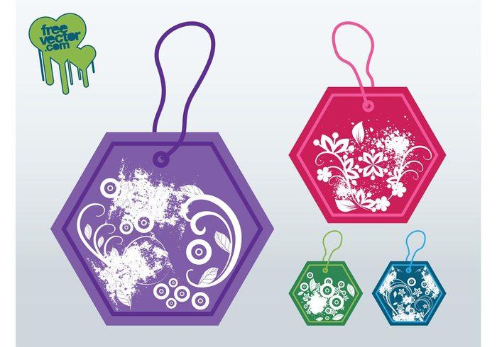 Stems splatter price tags plants hexagons grunge Geometry geometric shapes flowers circles