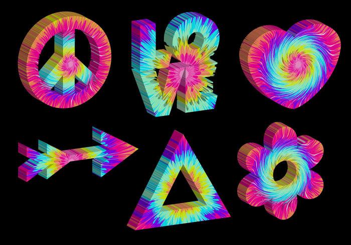 vintage tye dye Tie dye rainbow psychadelic peace kitschy Kitsch icons hippy groovy 90s 60's 3d