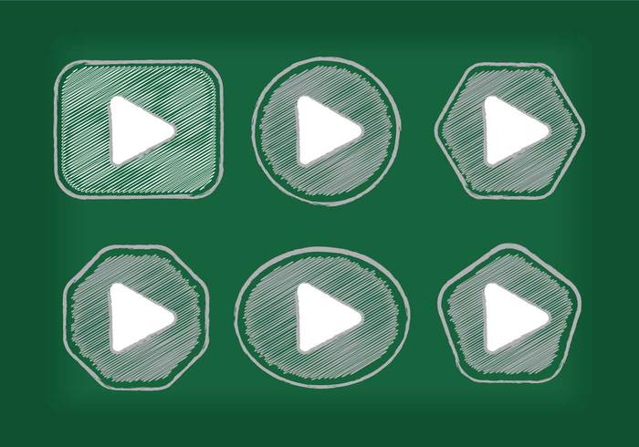 white web vector sketch shape shadow set player play button icon play button play modern media internet icon hand-draw Hand drawing green gray chalk board chalk button