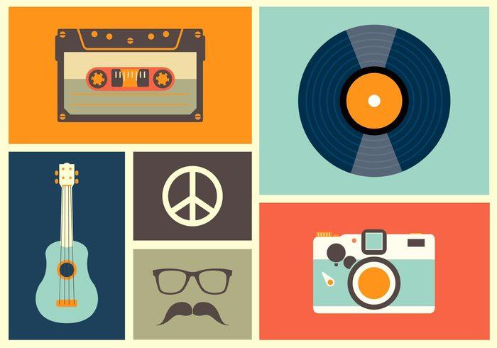 web vintage ukulele sixties seventies retro record piece sign piece music moustache hippie glasses flat element color casette camera background art