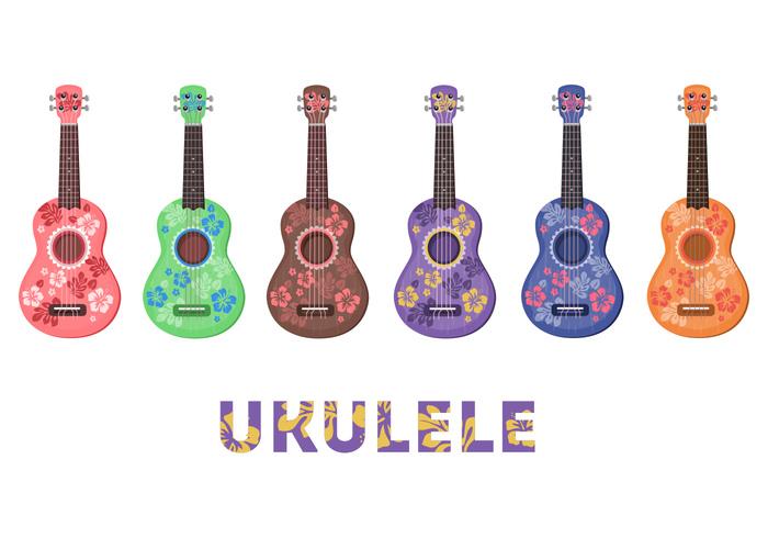 ukulele tiny small guitar Reggae musician music hawaiian pattern funny folk instrument flowers exotic island colorful