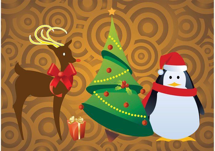 xmas toys present pine penguin party Noel new year invitation holiday gold gift funny deer christmas tree christmas celebration box Bambi animal