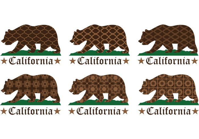 USA symbol state star sign Republic national isolated golden state emblem dark brown brown bear america