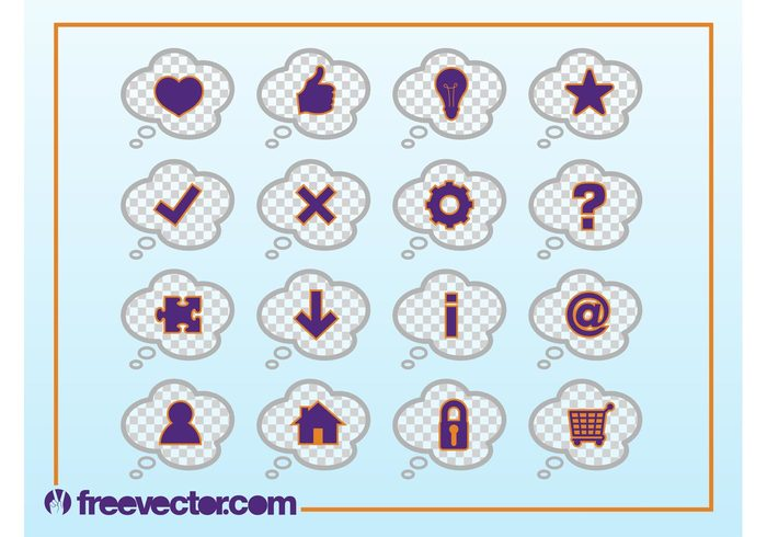 web Though balloons symbols star profile online logos like info icons home Gear wheel clouds arrow @