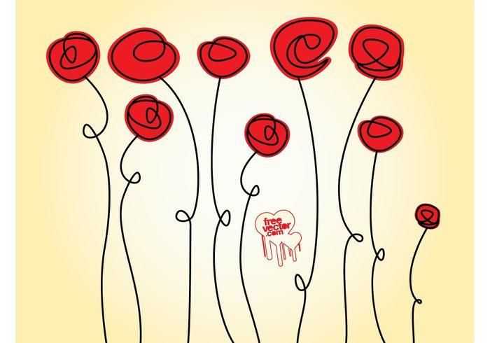 Valentine graphics Stems romance plants love flowers floral decoration blossoms bloom background