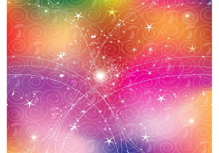 swirl stars sparkle scrolls Rainbow vector rainbow psychedelic gradient mesh gradient dots curves colorful circle abstract