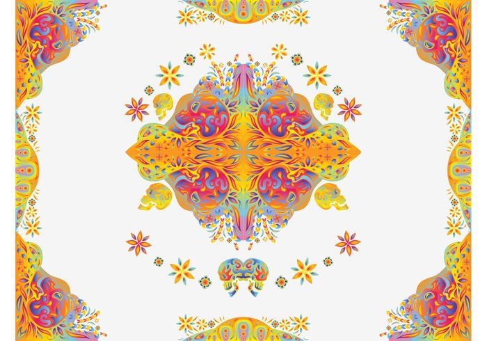 skulls psychedelic plants Lsd leaves geometric shapes flowers drugs acid abstract 60's